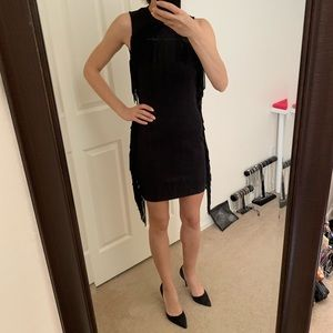 Topshop Fringe Black Mini Dress Stretchy Sz 2